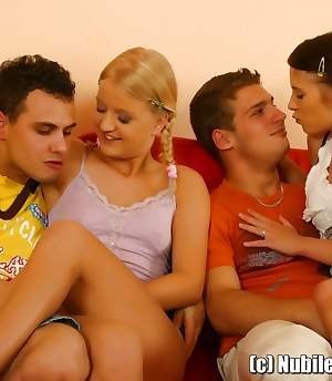 Nubile Girls HD - Two teen couples having fun together